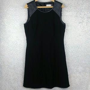 Calvin Klein LB Dress Faux Leather Trim Flared